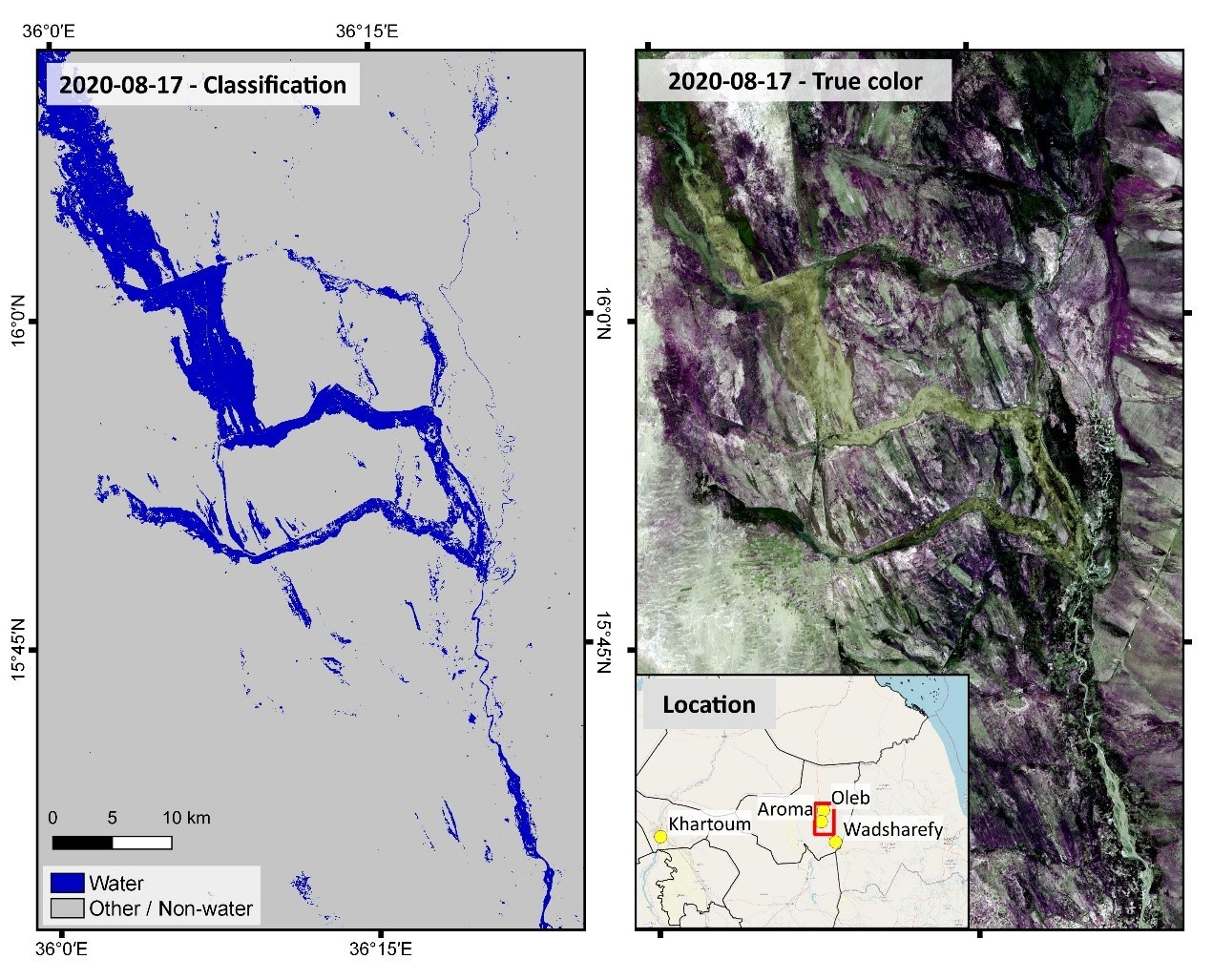 Figure 2: Example for classification result using the NDWI based on Sentinel 2 provided by ESA via the International Charter. Scene taken on August 17th, 2020.