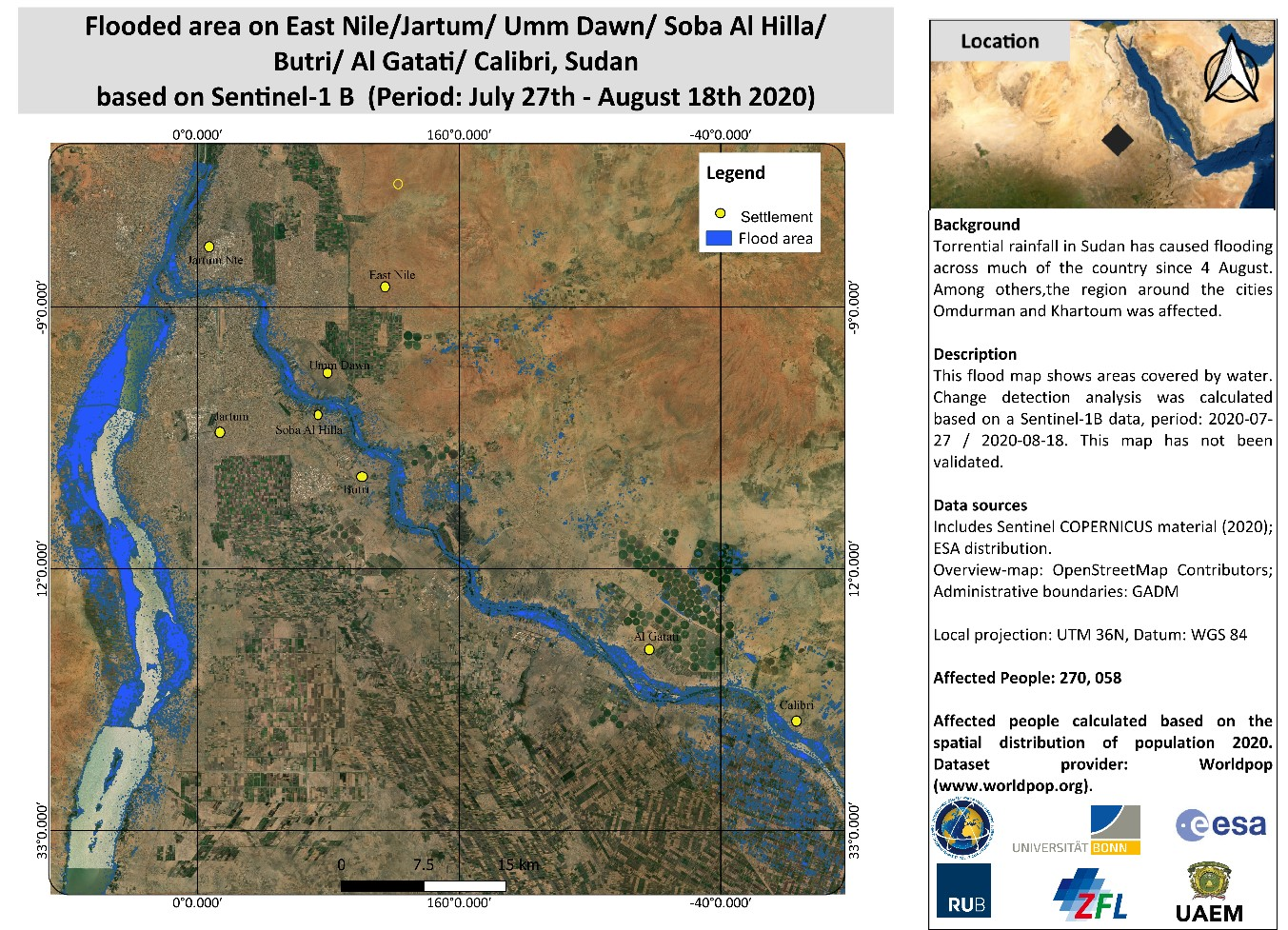 Figure 3: Flooded Area in affected region with Sentinel-1B Images between 27 July and 18 August, 2020. Raw imagery provided by ESA via the International Charter. Map produced by RUB, ZFL and UAEM. Available at: https://disasterscharter.org/image/journal/article.jpg?img_id=7032887&t=1598600800100.