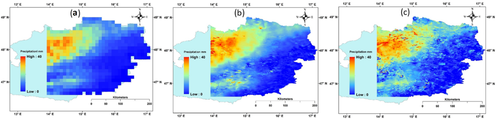 Figure 2. (a) original IMERG, (b) MLR-downscaled, and (c) ANN-downscaled precipitation for 3rd September 2015 event over northeast Austria.