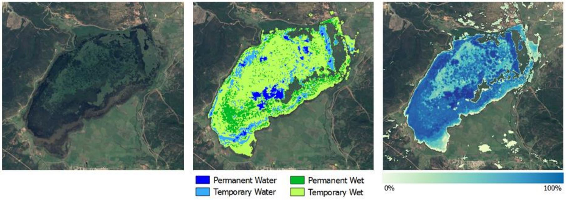 "Figure 2 - Wetland Inventory of  Lake Tonga, Algeria  Input imagery: Sentinel-1/Sentinel-2. Time period: 2015/2016. Spatial resolution: 20 meters   Accuracy: +85% overall and individual class accuracy. (Source: Globwetland Africa, ""Wetland Inventory"")"