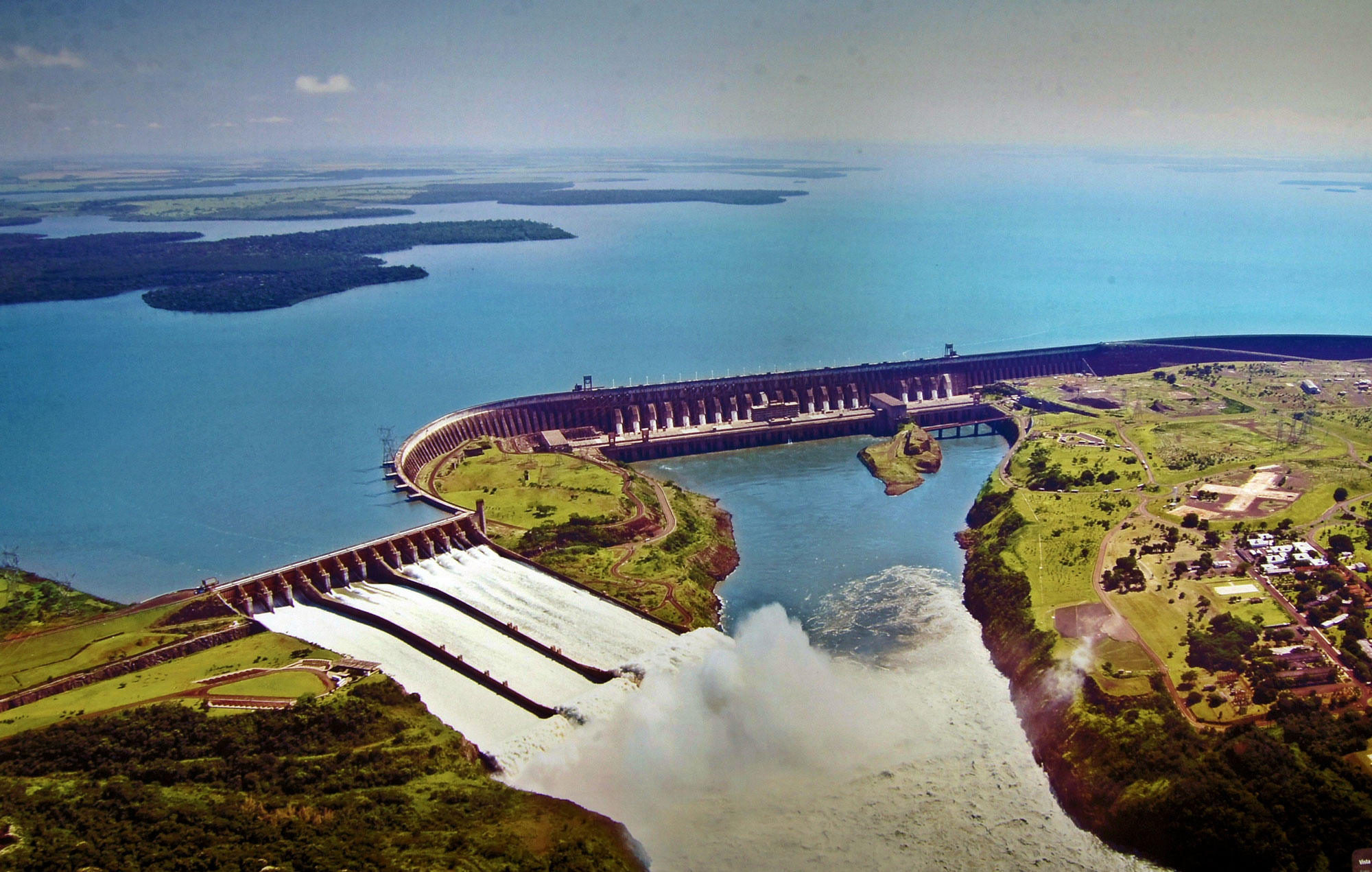 Itaipu dam, located on the Paraná river that borders Brazil and Paraguay