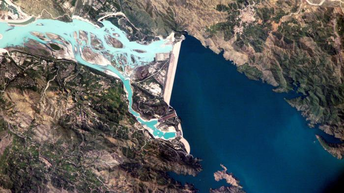 Tarbela Dam, Pakistan – part of the Indus Basin Project that resulted from the 1960 Indus Waters Treaty between India and Pakistan. Source: NASA