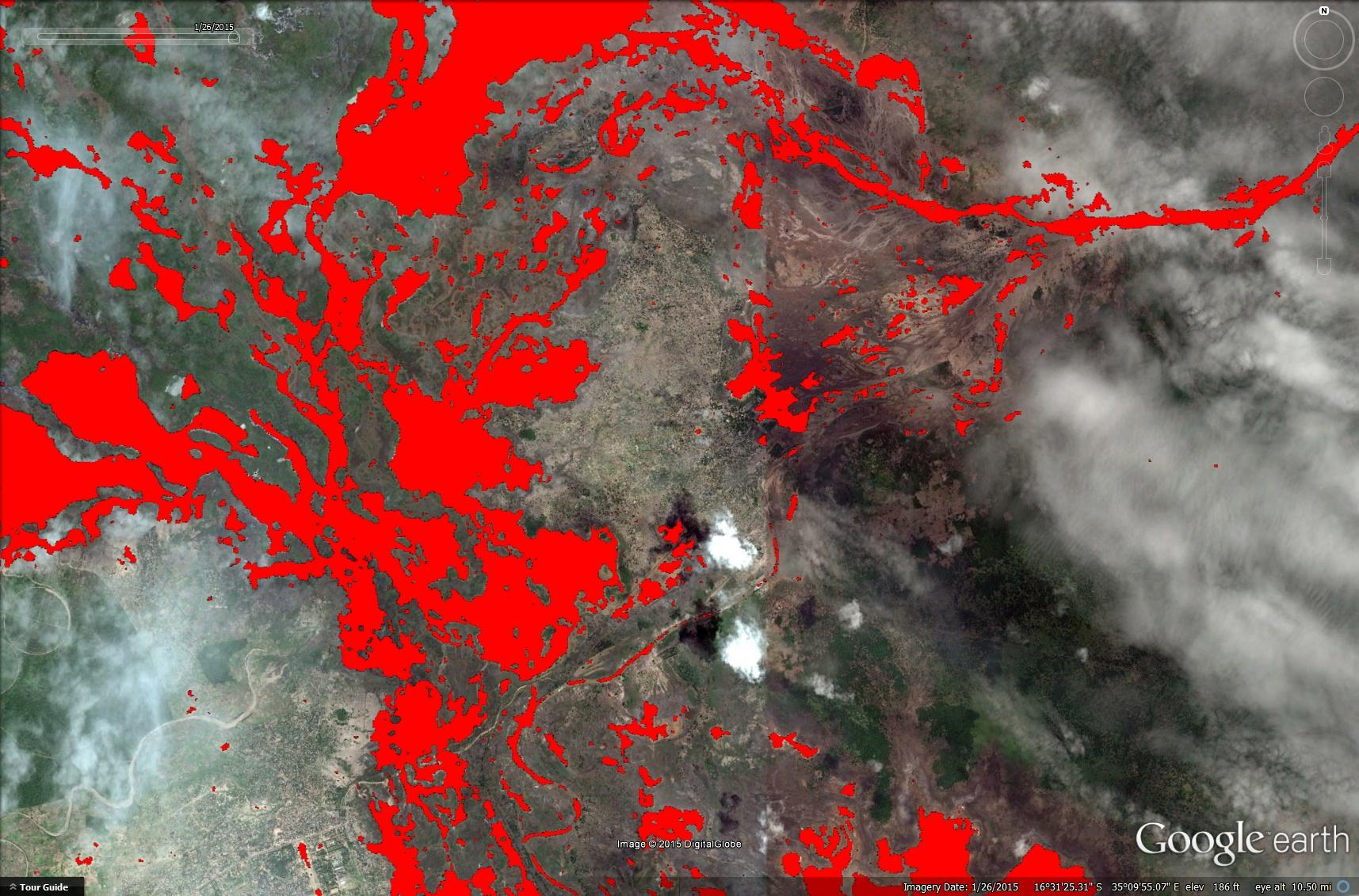 Google Earth image of SNAP based flood mapping